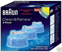 BRAUN CCR3 CLEAN AND RENEW MENS ELECTRIC SHAVER HYGIENIC REFILL CARTRIDGE 3-PACK