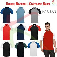 Unisex Baseball Short Sleeved Contrast Pique Poloshirt Sports Casual Work Polo T
