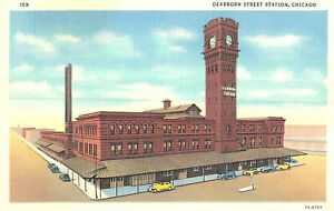 VIntage Postcard-Dearborn Street Station, Chicago, IL