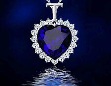 Crystal dark Blue Heart   just stunning  Plated  Neckless stunning