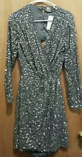 Asos Ladies Embellish Gray Formal Sequin Dress 8 Lined V-Neck Long Sleeve SEXY
