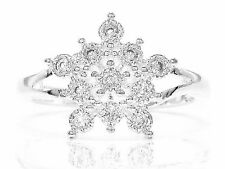 Genuine hallmarked silver snowflake ring handmade with clear gems black gift box