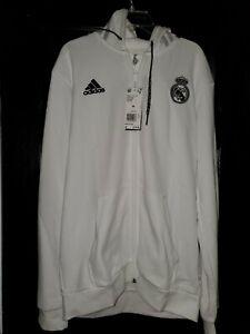 Adidas Real Madrid Hoodie Sweatshirt Jacket White Mens Medium.