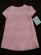 NWT Luli & Me Baby Little Girl 24 M ALine Scallop Linen Pink Easter Spring Dress