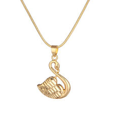 "Women's Swan Pendant Necklace 18K Yellow Gold Filled 18"" Link Fashion Jewelry"
