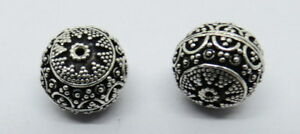 2 Pieces Bali Silver Beads Handmade Silver Beads Round 14mm
