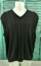 GREG NORMAN COLLECTION Sweater Vest Black Cable Knit Pullover V Neck Mens SZ L