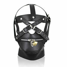 Black Faux Leather Hood Head Harness Gags Muzzle Mask Role Play Cosplay Costume