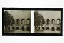 Arles Arènes France Photo C26 Stereo Plaque de verre Vintage 1928