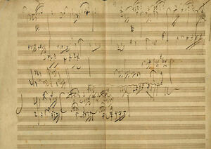 Framed Vintage Music Sheet – Manuscript Sketch in Beethoven's Handwriting (Art)