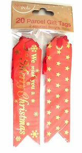 20 Red Parcel Gift Tags 2 Designs We Wish You A  Merry Christmas & Gold Stars