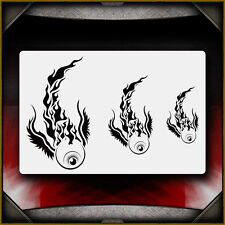 """Flaming Eyes"" Airbrush Stencil Template Airsick"