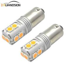 2X Amber Yellow BA9S 3030 10SMD LED T4W Indicator Side Parker Light Bulb 12-24V
