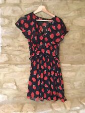 BNWT Zara Black And Red Floral Sheer Wrapover Dress Size Large