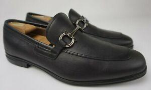 Salvatore Ferragamo Black Men's Scarlet Gancini Bit Loafers Moccasins Size 11 2E