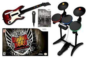 NEW Nintendo Wii-U/Wii THE BEATLES Rock Band guitar hero WOR Bundle drums game