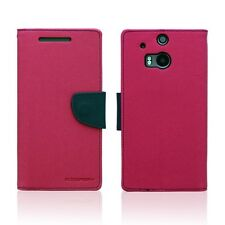 Genuine Korean Mercury Goospery Fancy Diary Wallet Case for HTC One M8 Hot Pink