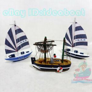 WOOD MODEL (10cm length)Tall Ship Yacht Sailing Boat Fishing Boat Nautical decor