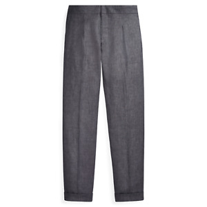 Ralph Lauren Purple Label Italy Mens RLX Grey Linen Drawstring Trouser Pants NWT