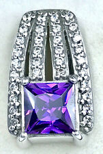 925 sterling silver Purple and White CZ Pendant_hand finished and set