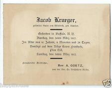 1912 Buffalo NY German Funeral Card - Jacob Krueger