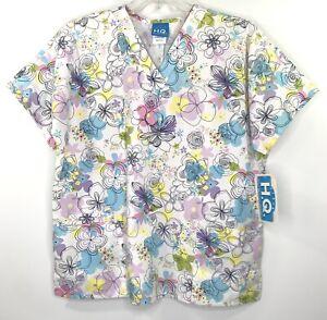 Scrub H.Q. Vneck Womens L Scrub Top White Multi Color Floral 3 Pockets