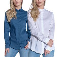 Vestino Damen Hemdbluse Strass-Details Bluse Hemd Lange Ärmel Tailliert Strass
