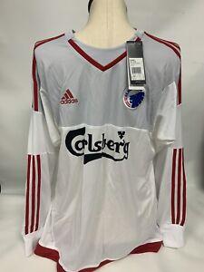 Mens Adidas Carlsberg Soccer Futbol White Long Sleeve Goalie Jersey Size XL Brom