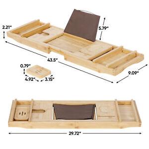 Expandable Bamboo Bathtub Caddy Tub Rack Tray Bathroom Book Pad Tablet Holder