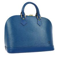 AUTHENTIC LOUIS VUITTON ALMA HAND BAG BLUE EPI LEATHER M52145 VINTAGE AK26025c