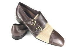 AMAZING A. Testoni Monk Strap Oxford Dress Shoe Size 7 Brown Leather Cap Toe