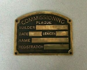VINTAGE BRASS COMMISSIONING PLATE PLAQUE boat narrowboat yacht vacant blank