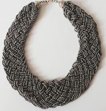 Stunning Ladies Statement necklace Braided beaded Bib Collar necklace 4 Colours