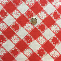 """Vintage Full Feed Sack Lovely Red & White Check with Leaves 43"""" x 37"""""""
