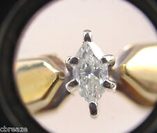 MARQUISE SHAPE DIAMOND VINTAGE 10K YELLOW & WHITE GOLD SOLITARE RING