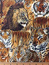 "100% Cotton Fabric BIG CATS Cheetah Lion Tiger FQ 18"" X 22"" DIY Mask / Quilting"