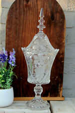 LARGE French antique crystal glass cut Drageoir Sugar bowl lidded