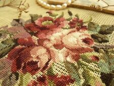 "*Burnt Orange Roses* Bunch 18"" Vtg PREWORKED Needlepoint Canvas 100% Petit point"