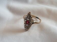 Art Deco Antique Estate 14K Rose Gold, Ruby & Diamond Chips Ring Size 4 Full