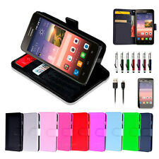 NEW Leather Wallet Case Cover for Nokia Lumia 530 + Screen Protector + USB Cable