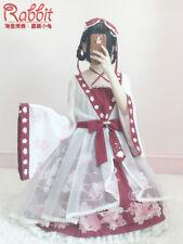 Sweet Lolita Artistic Vintage Kinngyo Prints Hime Sleeve Lace Dress Elgant#EB224
