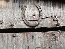 Cast Iron Horse Shoe Lucky above the barn door western cowboy stable horse decor