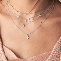 Fine Multilayer Choker Pendant Necklace Crystal Star Moon Chain Women Jewelry