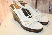 Cole Haan Wedge White Patent Leather Sandals 9 B Women's Shoes