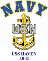 USS HAVEN  AH-12*   HOSPITAL SHIP  NAVY W/ ANCHOR* SHIRT