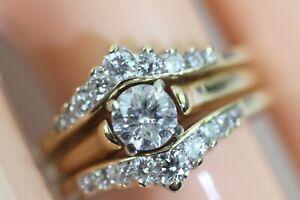 STRIKING 14k YELLOW GOLD 3/4 CARAT DIAMOND BRIDAL RING SET size 5