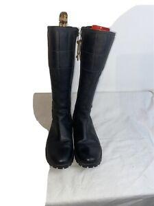 Timberland Ladies Leather Black Zip Up Boots  Mid Calf Zip Uk 7.5 Ref Ba4