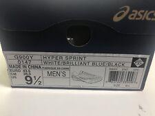 Men's ASIC Hyper Sprint Track Spike Shoe, White/Brilliant Blue/Black, Size 9.5