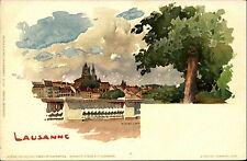 Lausanne Schweiz Künstlerkarte um 1900 color Postkarte ungelaufen Switzerland