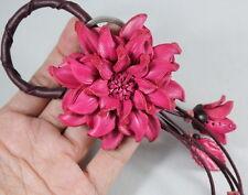 Pink Dahlia Flower Key ring Handbag Purse Genuine Leather Snap Charm Craft Gift